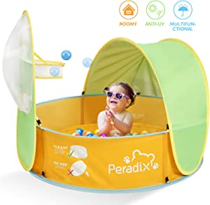 Peradix Paddling Pool for Kids & Pets, Kids Ball Pit Tent 3 in 1, Pop Up Wading Pool Tent with UV Protection Sunshade Canopy Basketball Hoop, Portable Beach Backyard Toys for Indoor Outdoor Activity