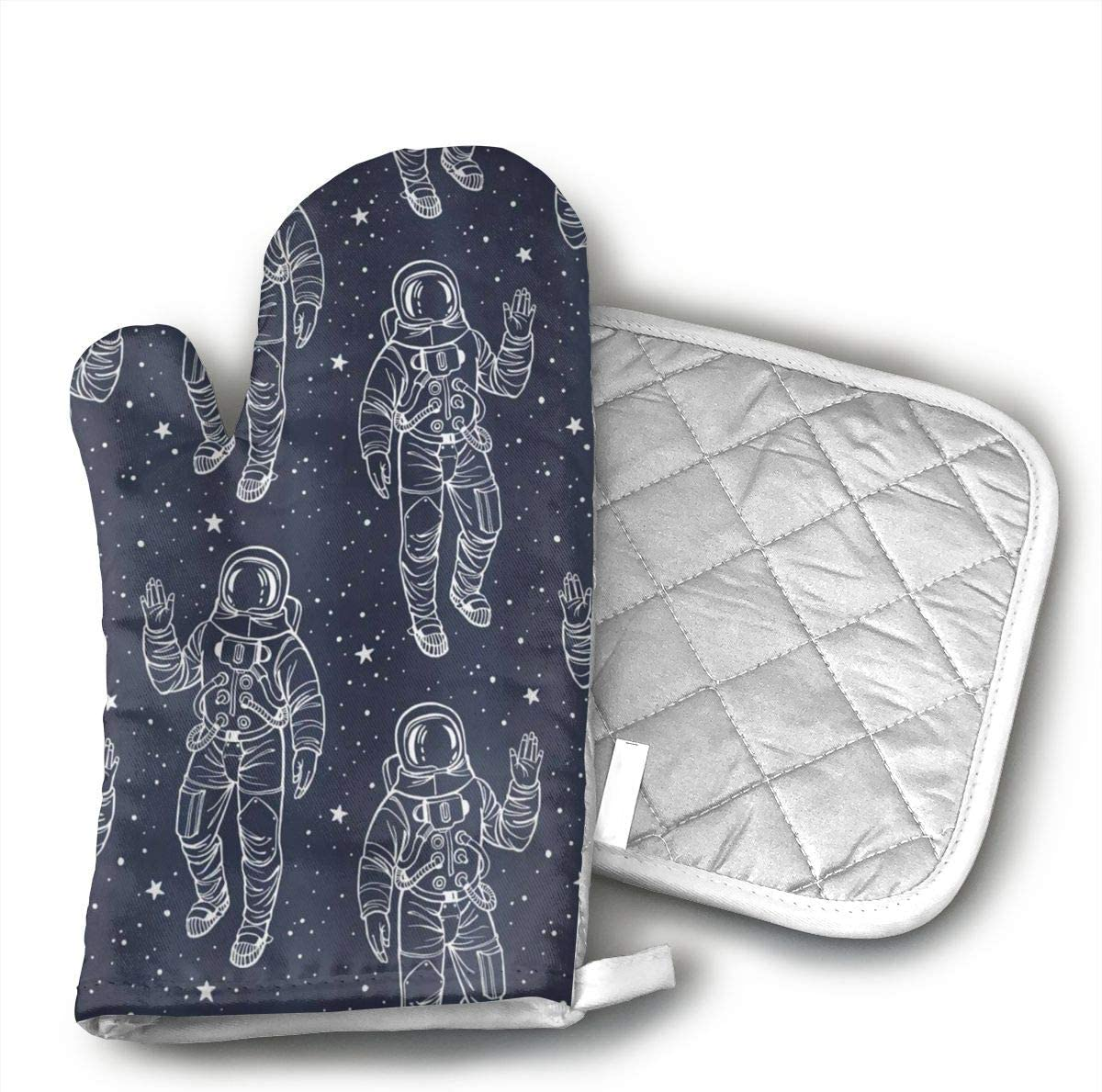 EROJfj Sky Starry Astronaut Pattern Oven Mitts and Potholders BBQ Gloves-Oven Mitts and Pot Holders Non-Slip Cooking Gloves for Cooking Baking Grilling