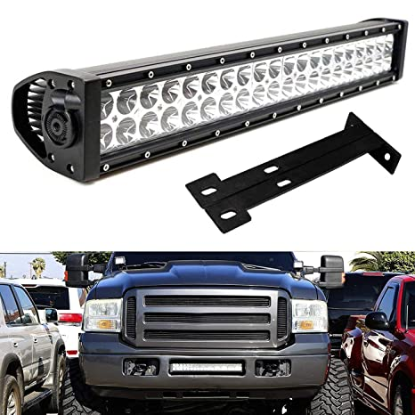 Ijdmtoy Lower Grille 20 Inch Led Light Bar Kit For 1999 2007 Ford F250 F350 Super Duty Includes 1 120w High Power Led Lightbar Lower Bumper