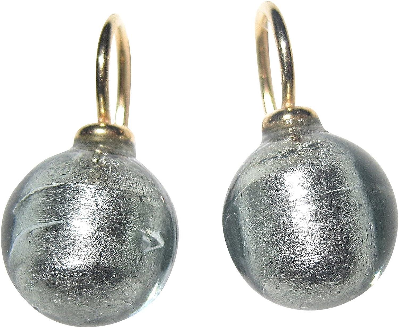 Pendientes colgantes grises de cristal de Murano, color antracita, 12 mm de diámetro, redondos, plata de ley, chapado en oro, oro 585, trabajo artesanal