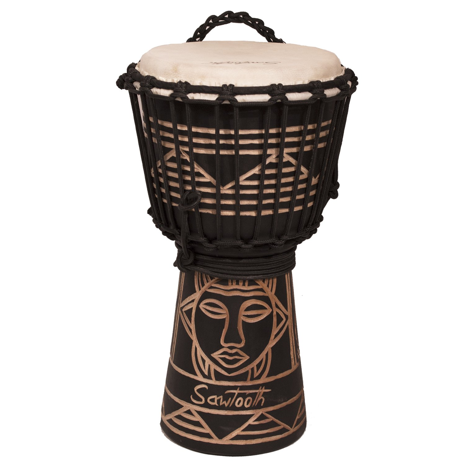 Sawtooth Harmony Series 8'' Hand Carved Spirit Design Rope Djembe, Satin Black Finish