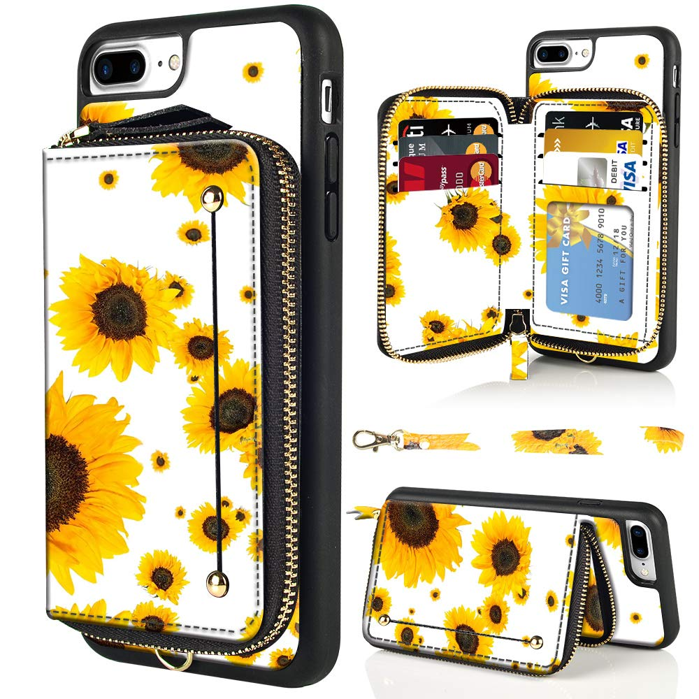 LAMEEKU iPhone 7 Plus Case, iPhone 8 Plus Wallet Case, Floral Flower Sunflower Pattern Design Zipper Leather Card Holder Case with TPU Bumper Cover for iPhone 7 Plus/iPhone 8 Plus 5.5''-Sunflower3 by LAMEEKU