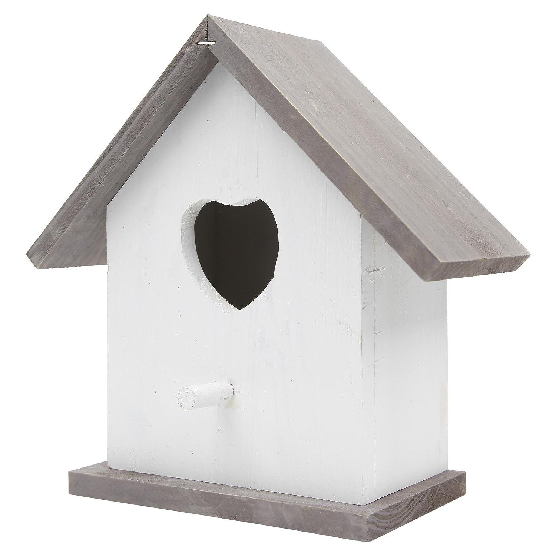 Nichoir à Oiseaux Traditionnel en Bois Blanc et Gris avec Coeur Gardens2you