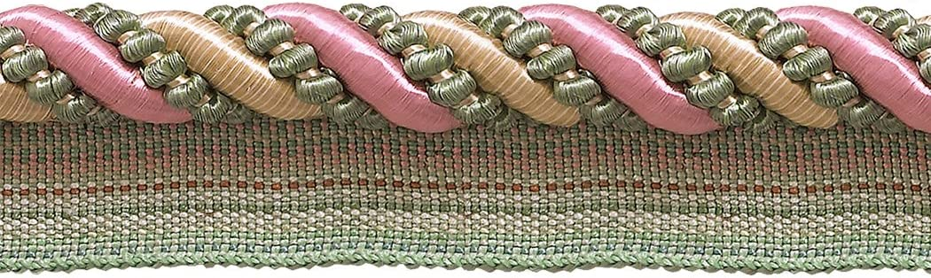 Pastel Green Light Gold 7//16 inch Imperial II Lip Cord Style# 0716I2 Color: Rose Garden D/ÉCOPRO Large Dusty Rose Sold by The Yard 3549