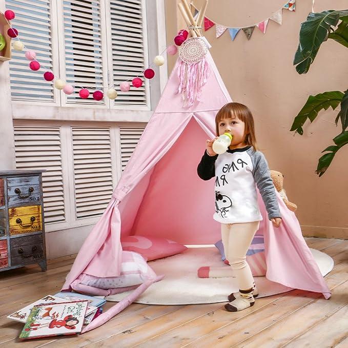 Amazon.com: Los niños jugar Tipi tienda de campaña rosa puro ...