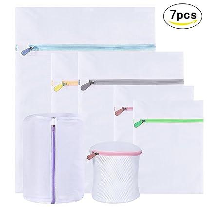 7PCS bolsas de lavadora LANMOK de cremallera de color diferente de malla delgada para bolsa ropa