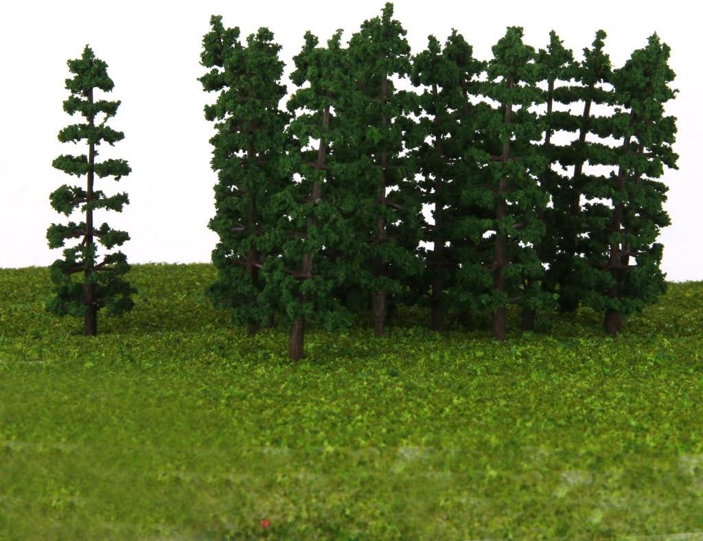 3,54 zoll für Zug 60 Stück Grüne Tannenbäume Modelle 1//100 9 cm