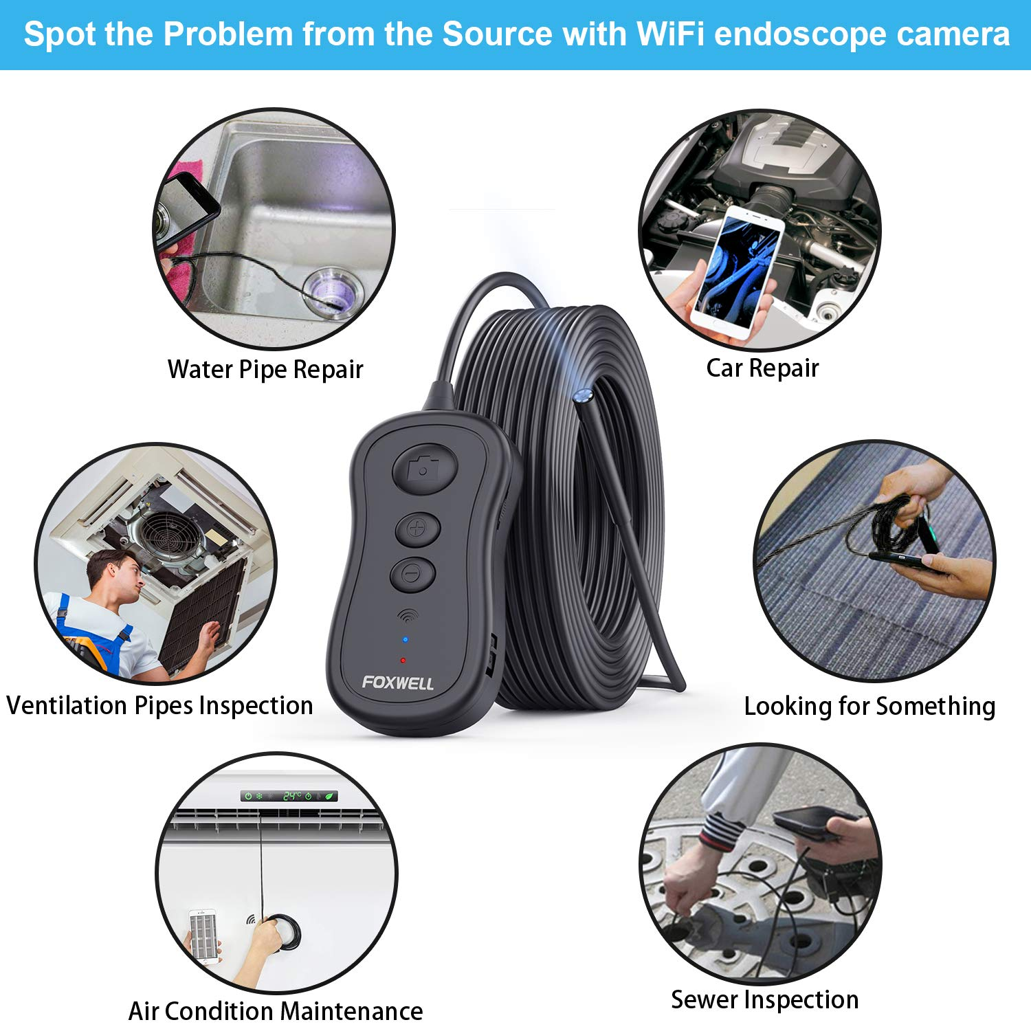 Foxwell Borescope Inspection Camera, 5.5mm WiFi Wireless Endoscope 2.0 MP HD Snake Camera 2200mAh Battery Compatible with Android and iOS Smartphone Tablet - 33FT by FOXWELL (Image #8)