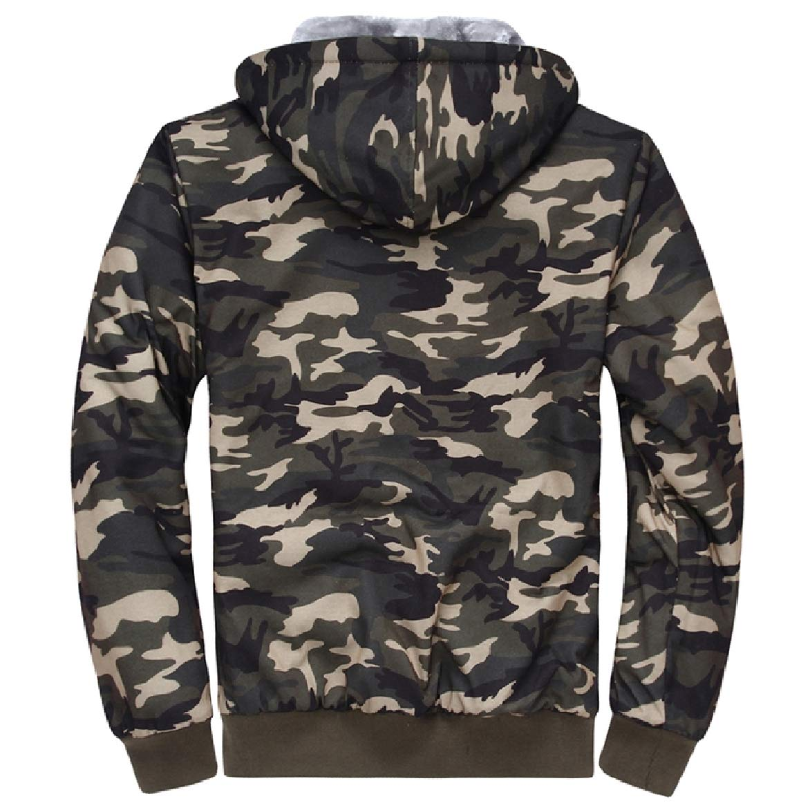 Abetteric Men with Pocket Plus Velvet Over Sized Camouflage Casual Sweatshirt
