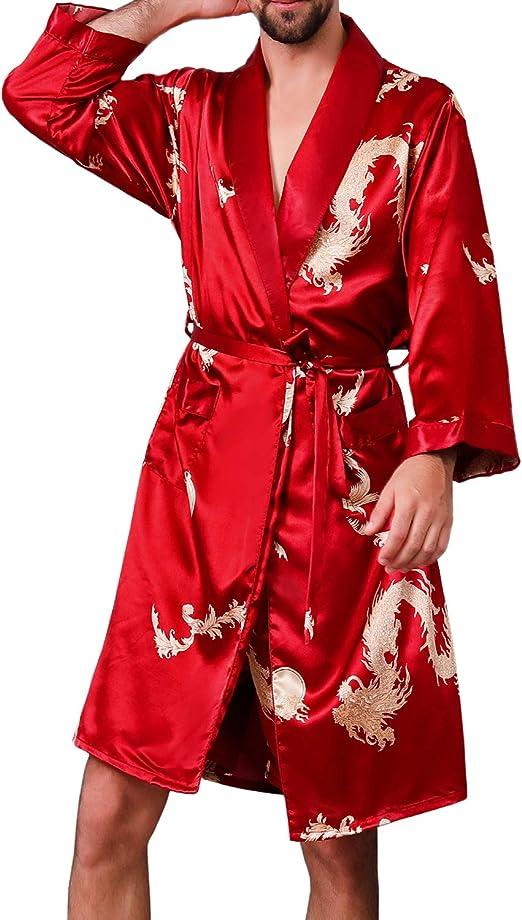 KapokDressy Mens Satin Robe,Silk Long Sleeve House Kimono Bathrobe,Soft Loungewear Dragon Robe
