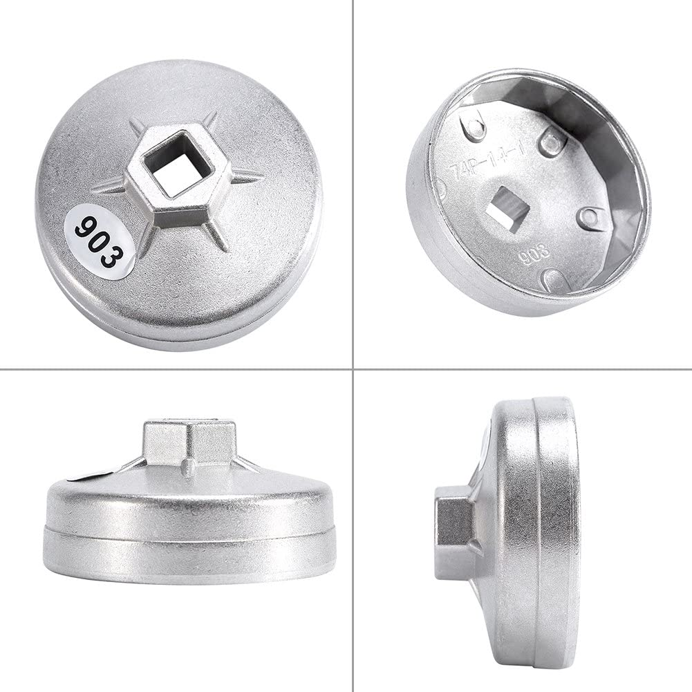 74mm 14 Flute Aluminum Oil Filter Wrench Socket Remover Tool 903 Silver Color Oil Filter Wrench