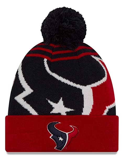 buy popular d3880 a2dac Image Unavailable. Image not available for. Color  Houston Texans New Era  NFL  quot Logo Whiz 2 quot  Cuffed Knit Hat with Pom