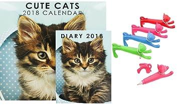 Gatos lindos 2018 calendario y agenda Bundle con gato pen: Amazon.es: Oficina y papelería