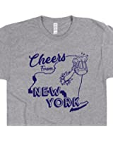 New York T Shirt Cheers From New York Home Shirt New York State Map Shirt Mens Womens New York Beer Shirts Native Vintage New York Tee