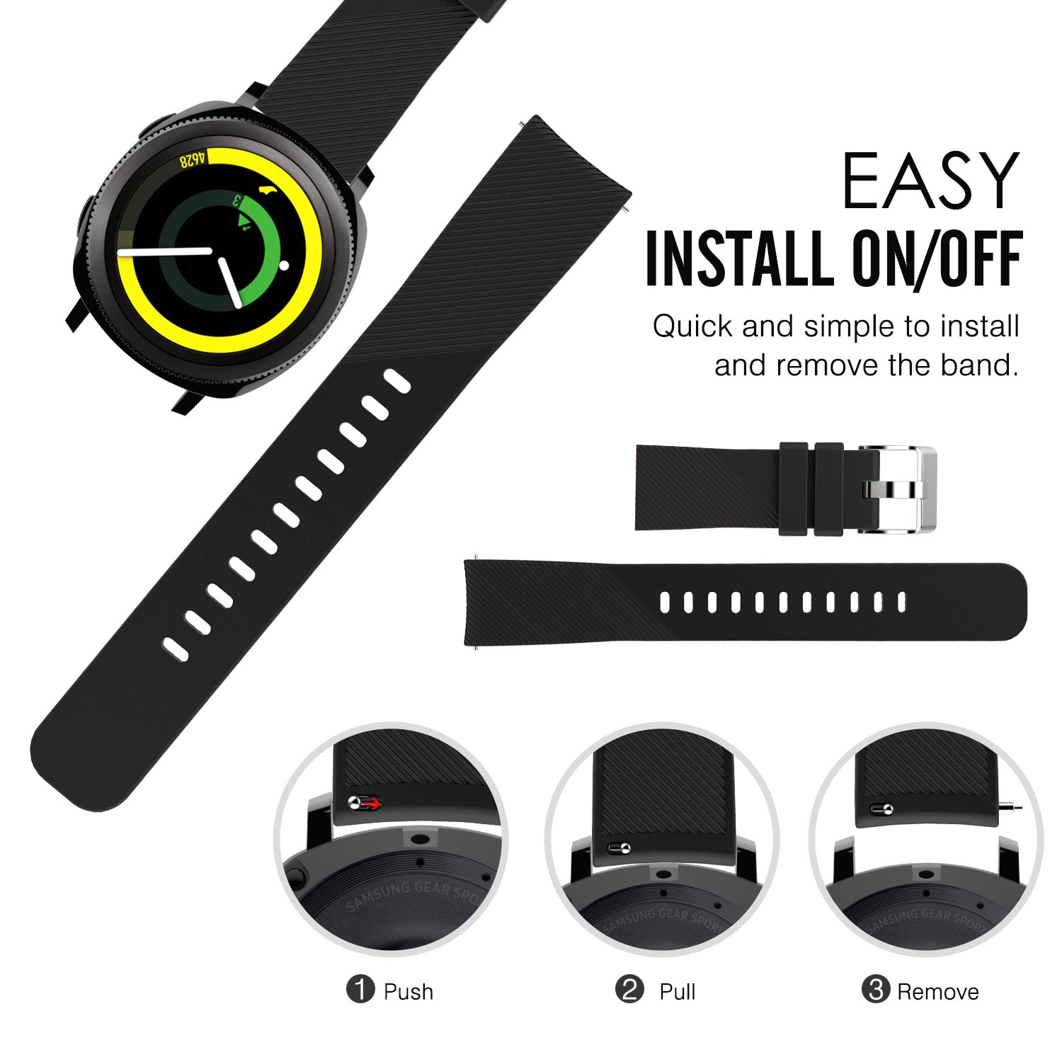 MoKo 20mm Gear Sport/Gear S2 Classic Watch Band Premium Soft ...