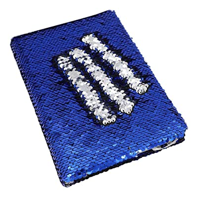 Magic Flip Sequin Notebook Mermaid Reversible Bullet Journal Color Changing Gift Planner Diary, Dark Blue and Silver