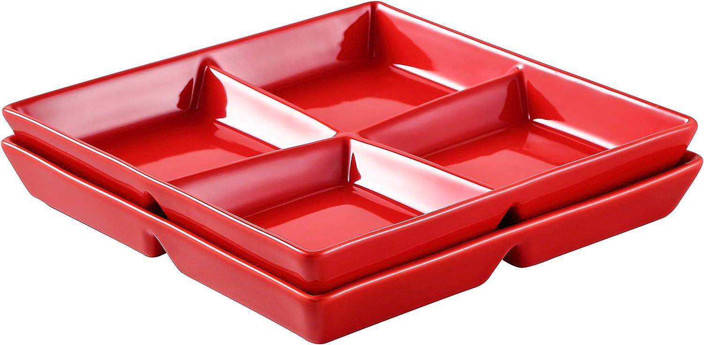 Bruntmor 10 x inch Decorative Appetizer Special Seasonal Wrap Introduction Campaign -Compartmen 4 Ceramic