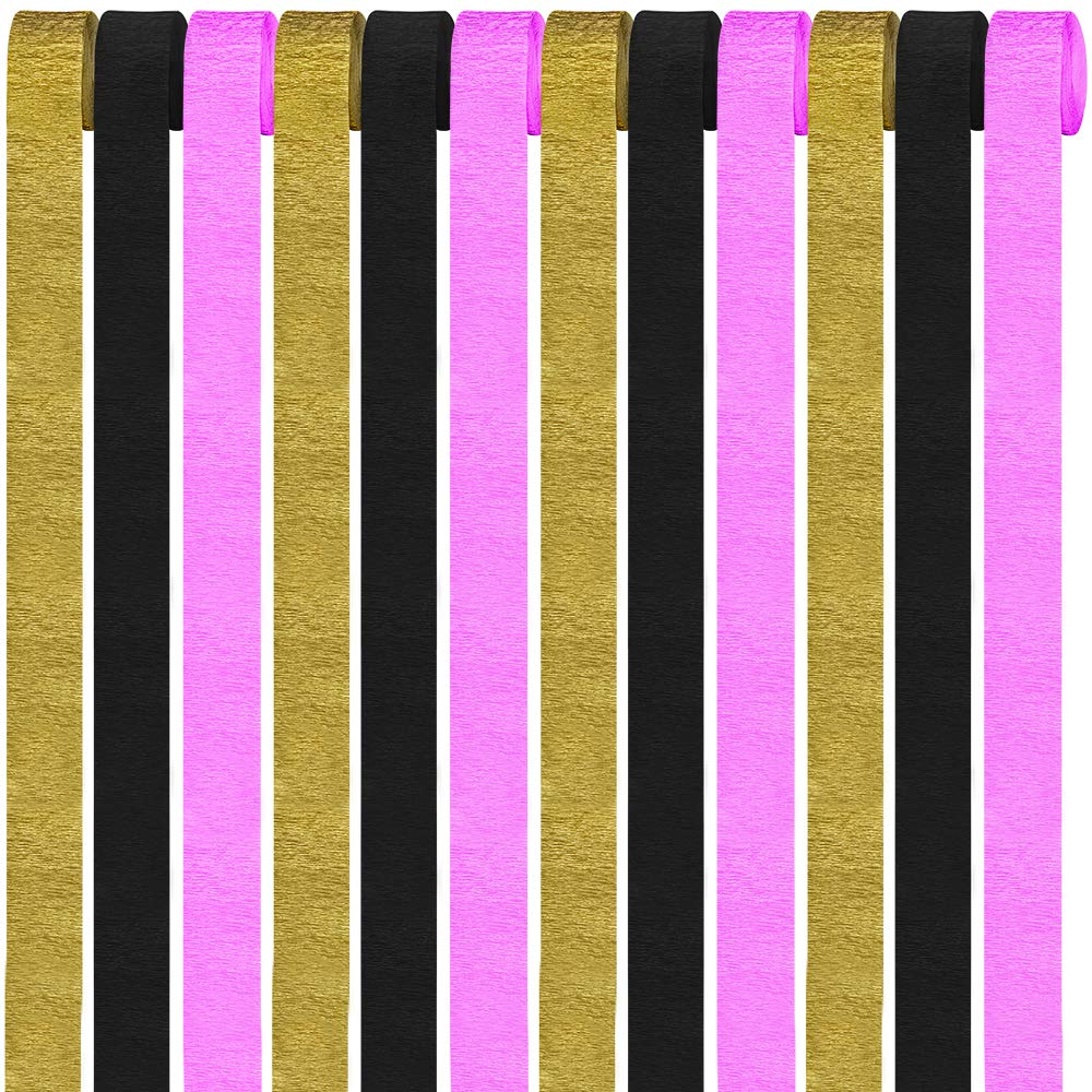 12 Rolls 324 Yard Party Streamers Photo Booth Backdrop Decorations Crepe Paper Streamers Bulk in Pink Black Gold 27 Yard x 1.8 W//Roll for Baby Bride Shower New Years Eve Birthday Graduation Party