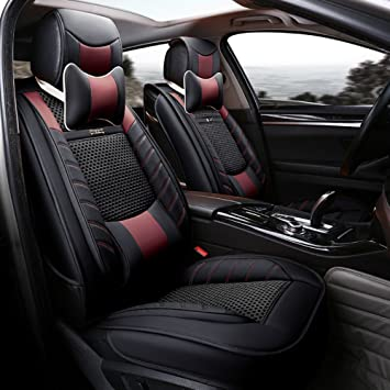 ANKIV Black FULL SET Universal Fit 5 Seats Car 3d Surrounded Luxury Waterproof Pu Leather And