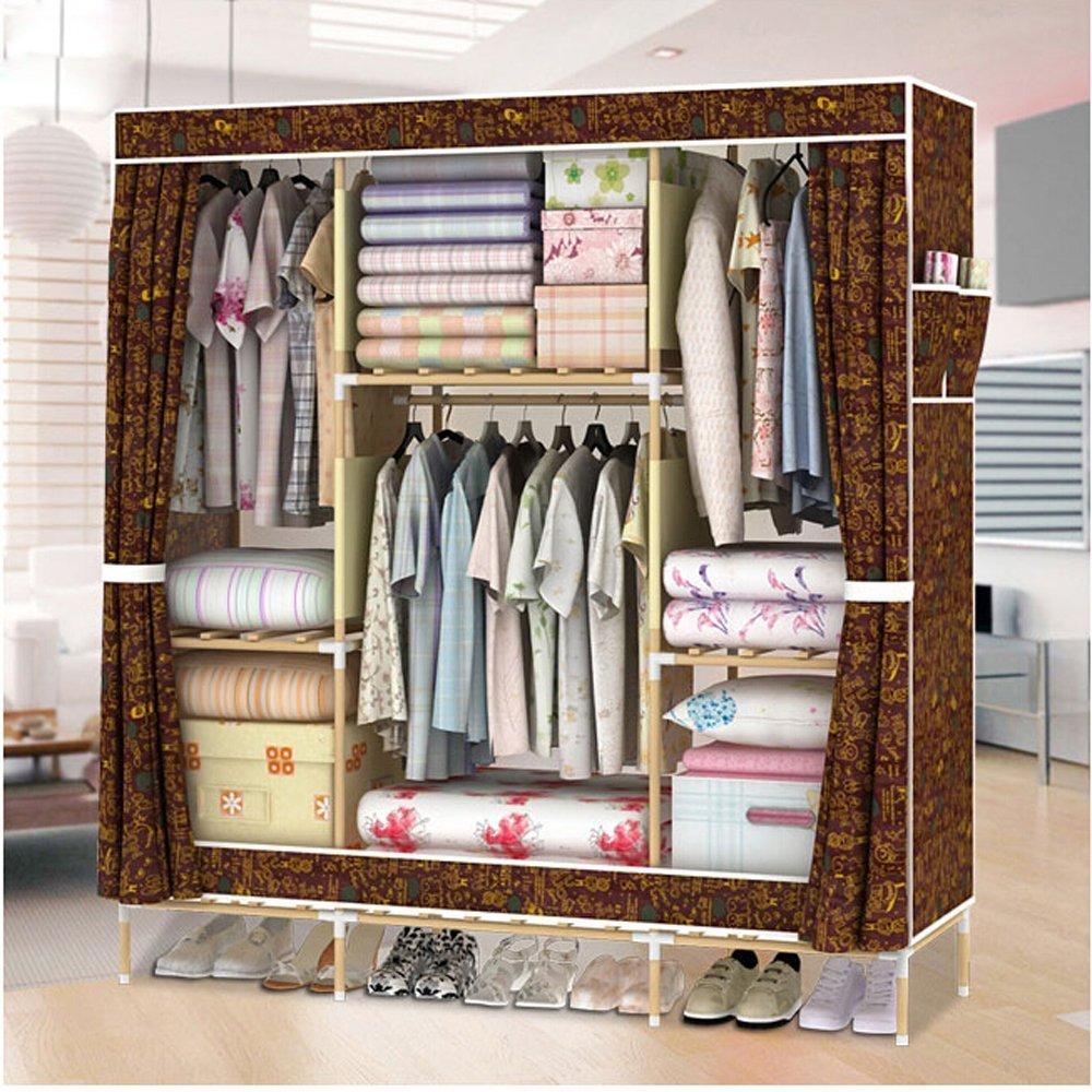 Generic New Super Large Triple Portable Folding Wooden Wardrobe Reinforced Clothes Closet Rack + 1 Free Storage Box