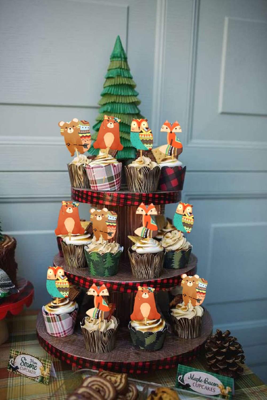 JeVenis Lot de 24 d/écorations tribales pour cupcakes Motif animaux de la for/êt