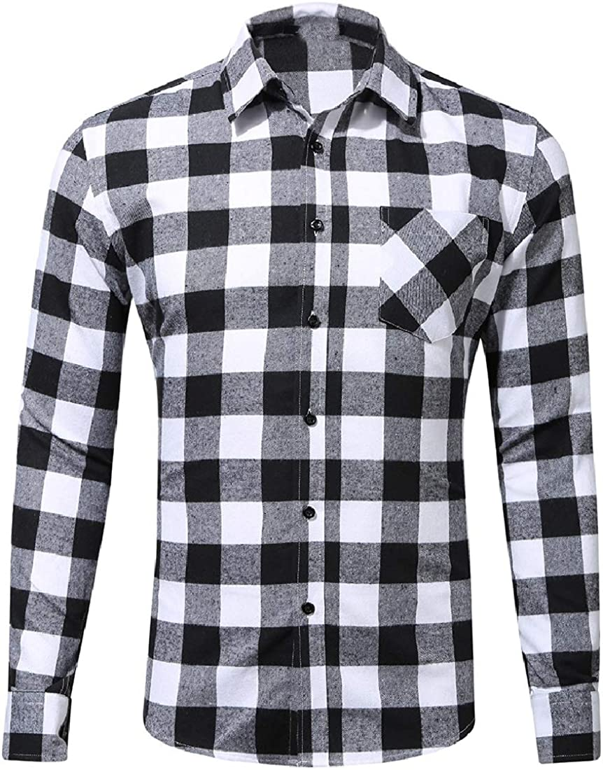 Fieer Mens Plaid Autumn Long Sleeves Leisure Flannel Dress Shirts