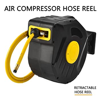 Air Hose Reel Retractable 50ft Hose 3//8in ID 300PSI Compressor Tool Accessory