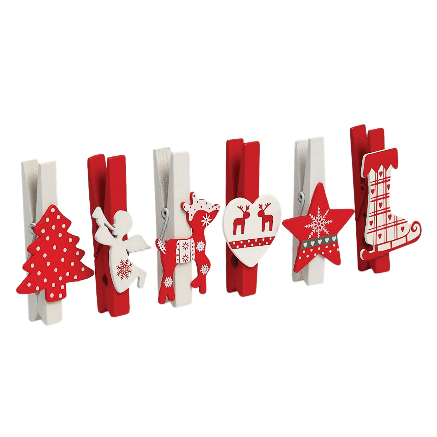 6//12//24 Christmas Xmas Card Hanging White Snowflake Novelty Wooden Small Pegs