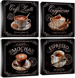 Coffee Wall Art Kitchen Home Decor Canvas Print Coffee Cup Pictures Modern Artwork Framed 12x12 Inch 4 Panels Vintage Coffee Espresso Mocha Still Life Painting Decoration Coffee Shop Dining Room