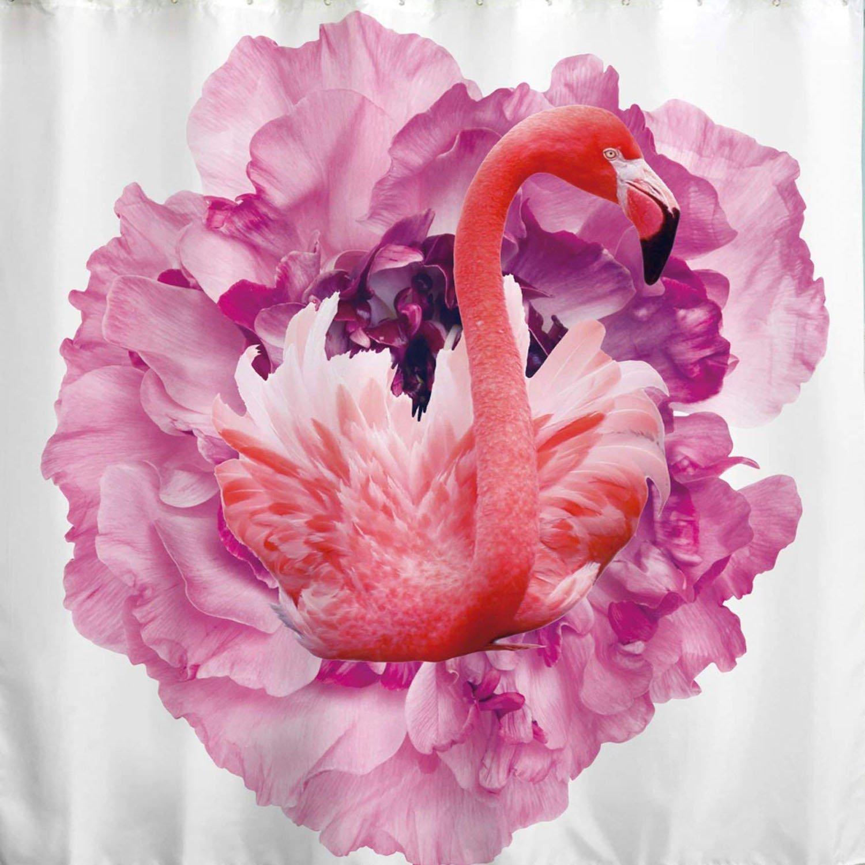 BROSHAN Fabric Bathroom Shower Curtain,Pink Flamingo Beautiful Flower Decor Kid Shower Curtain for Girl Bathroom Nature Scene Waterproof Fabric Bathroom Accessories with Hooks,72x72 inch,White,Pink