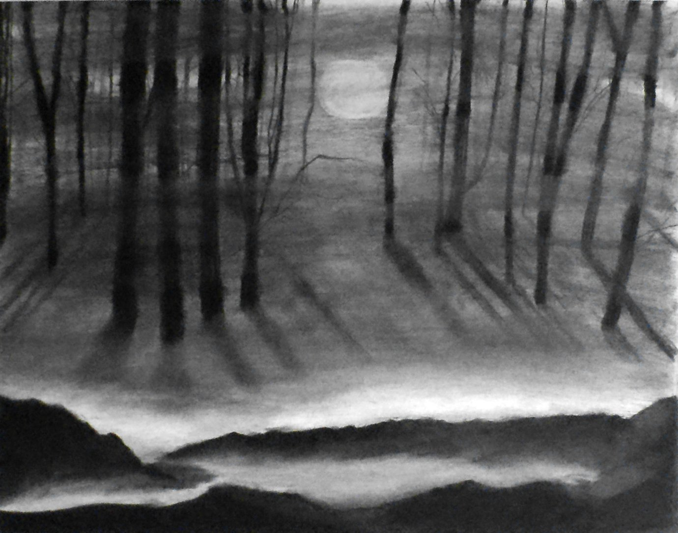 Amazon com 1 11x14 through the fog charcoal drawing original