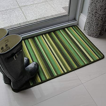 The Rug House Green Stripe Anti Creep Entrance Door Mat And Runner Rugs  Luna   6