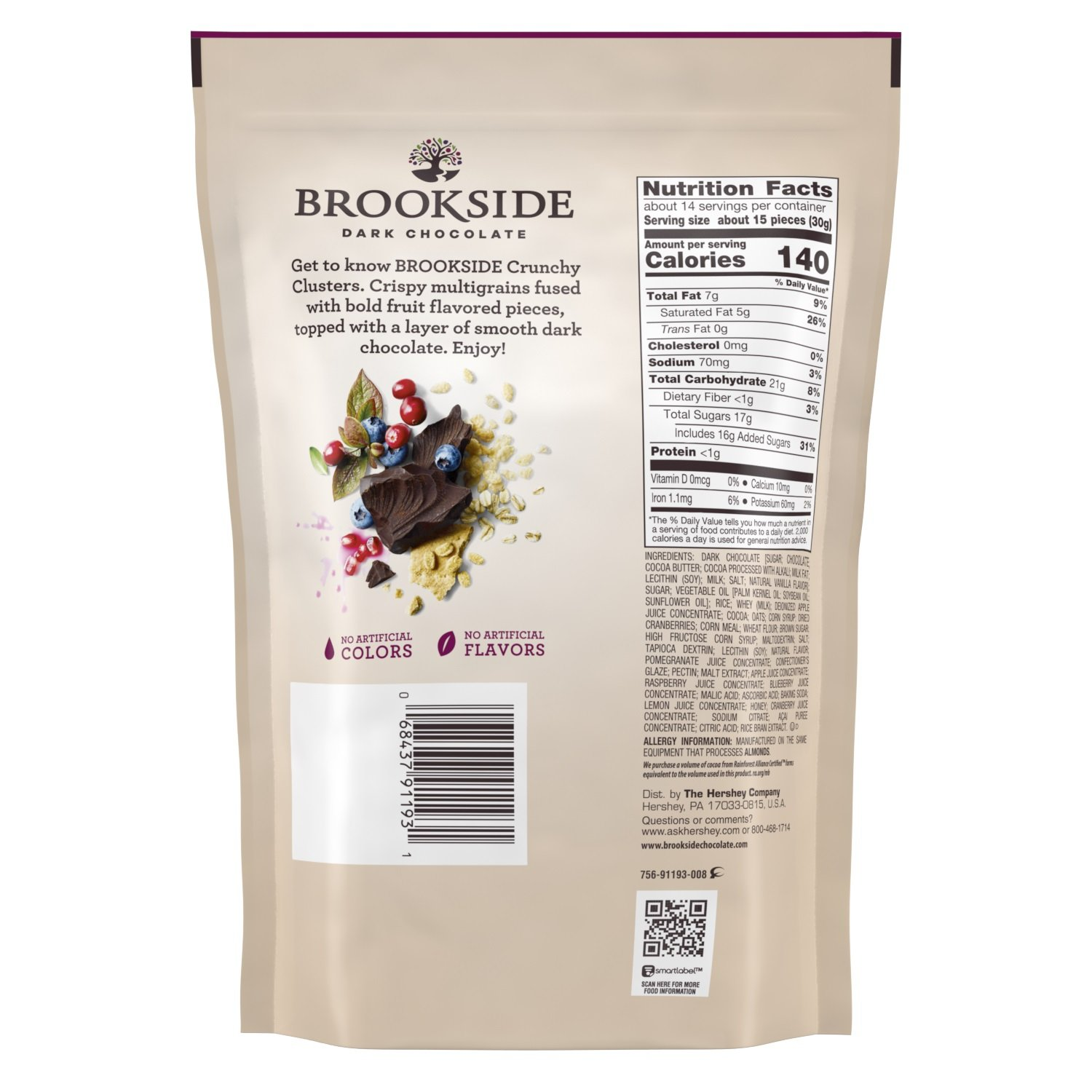 Brookside Dark Chocolate Crunchy Clusters Berry Medley Fruit Flavors Pouch, 15 Ounce by Brookside (Image #2)