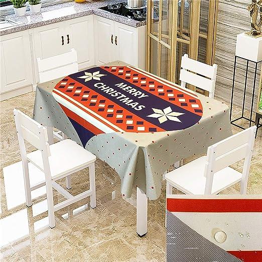 SONGHJ Mantel de Navidad de algodón poliéster Impresión Creativa Cubierta de Mesa Impermeable a Prueba de Polvo Espesar Mantel Rectangular Textil para el hogar G 140x200cm / 55x79in: Amazon.es: Hogar