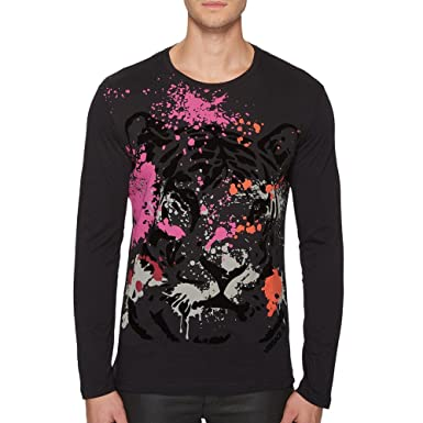 1fe7412db0881 Amazon.com  Versace Jeans Lion   Paint Splatter Print Tee