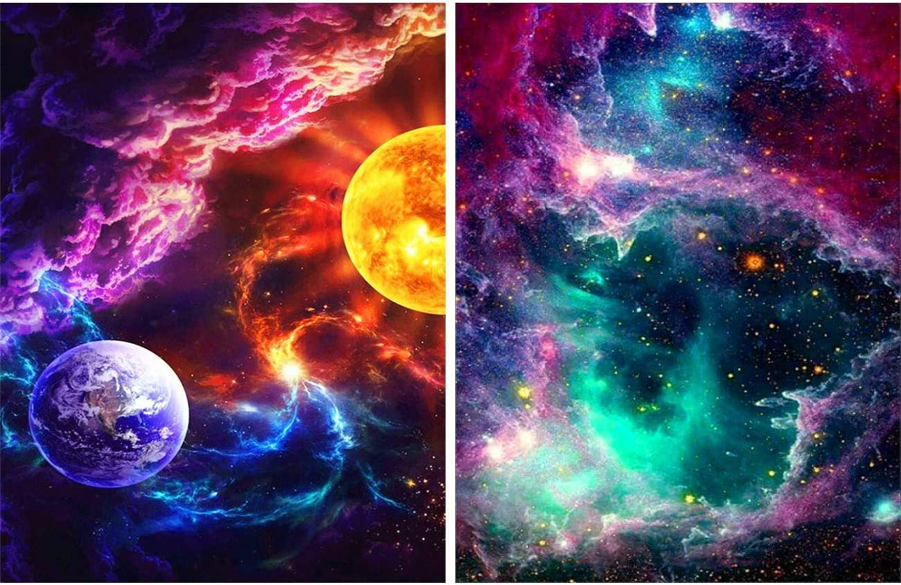 Amazon Com Skryuie 5d Diamond Painting Full Drill Planet Nebula By Number Kits Diy Galaxy Embroidery Rhinestone Star Paint With Art Cross Stitch Wall Home Decor 35x25cm