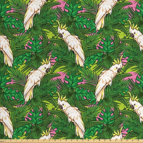 bric by the Yard, Yellow Crested Cockatoo Bird with Tropical Foliage Exotic Caribbean Design, Decorative Fabric for Upholstery and Home Accents, Green Pink Cream (Pink Caribbean House)