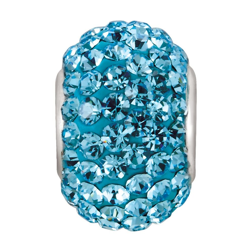 925 Sterling Silver 12x8mm March Polished Kera Bead Charm With Pave Aqua Crystals