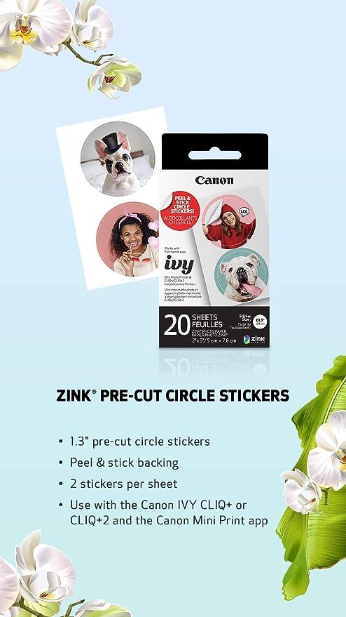 Canon ZINK Pre-Cut Circle Sticker Paper 20 Sheets