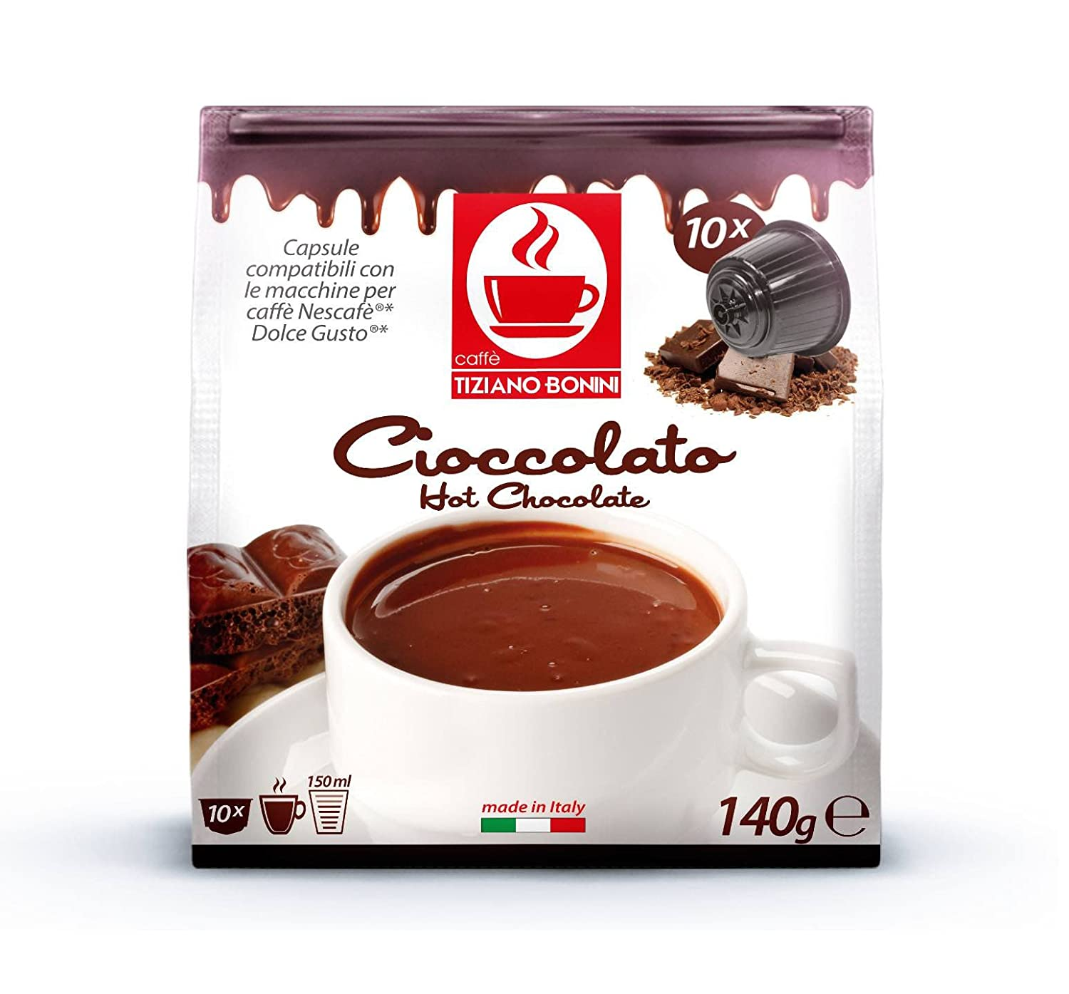 Chocolate, DOLCE GUSTO compatible. 50 cápsulas BONINI.: Amazon.es ...