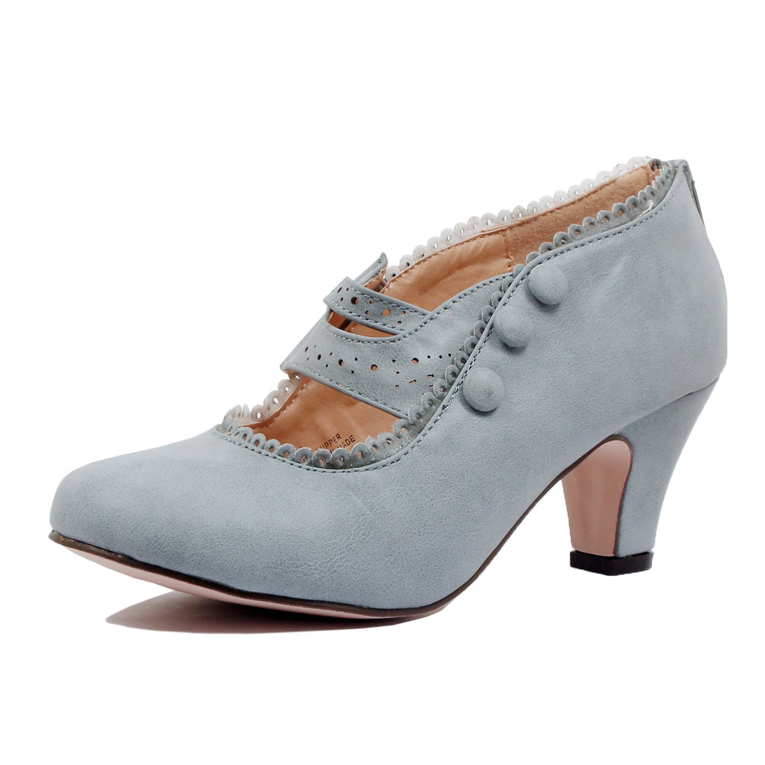Guilty Shoes - Womens Classic Retro Two Tone Embroidery - Wing Tip Lace Up Kitten Heel Oxford Pumps (10 B(M) US, Greyv2 Pu)