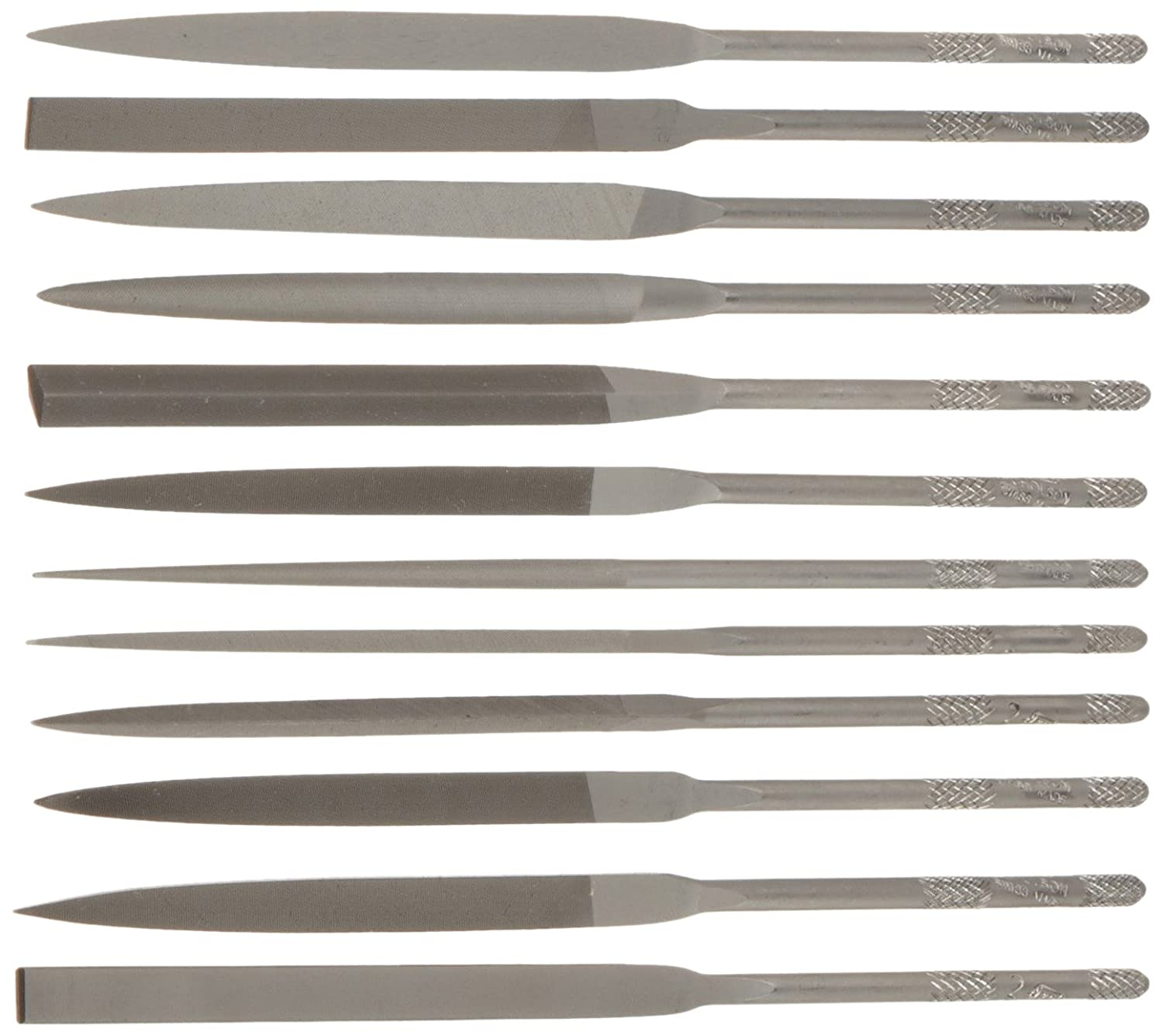 Nicholson 12 Piece Needle File Set with Handles Swiss Pattern #2 Coarseness Double Cut 5-1//2 Length 5-1//2 Length 37398