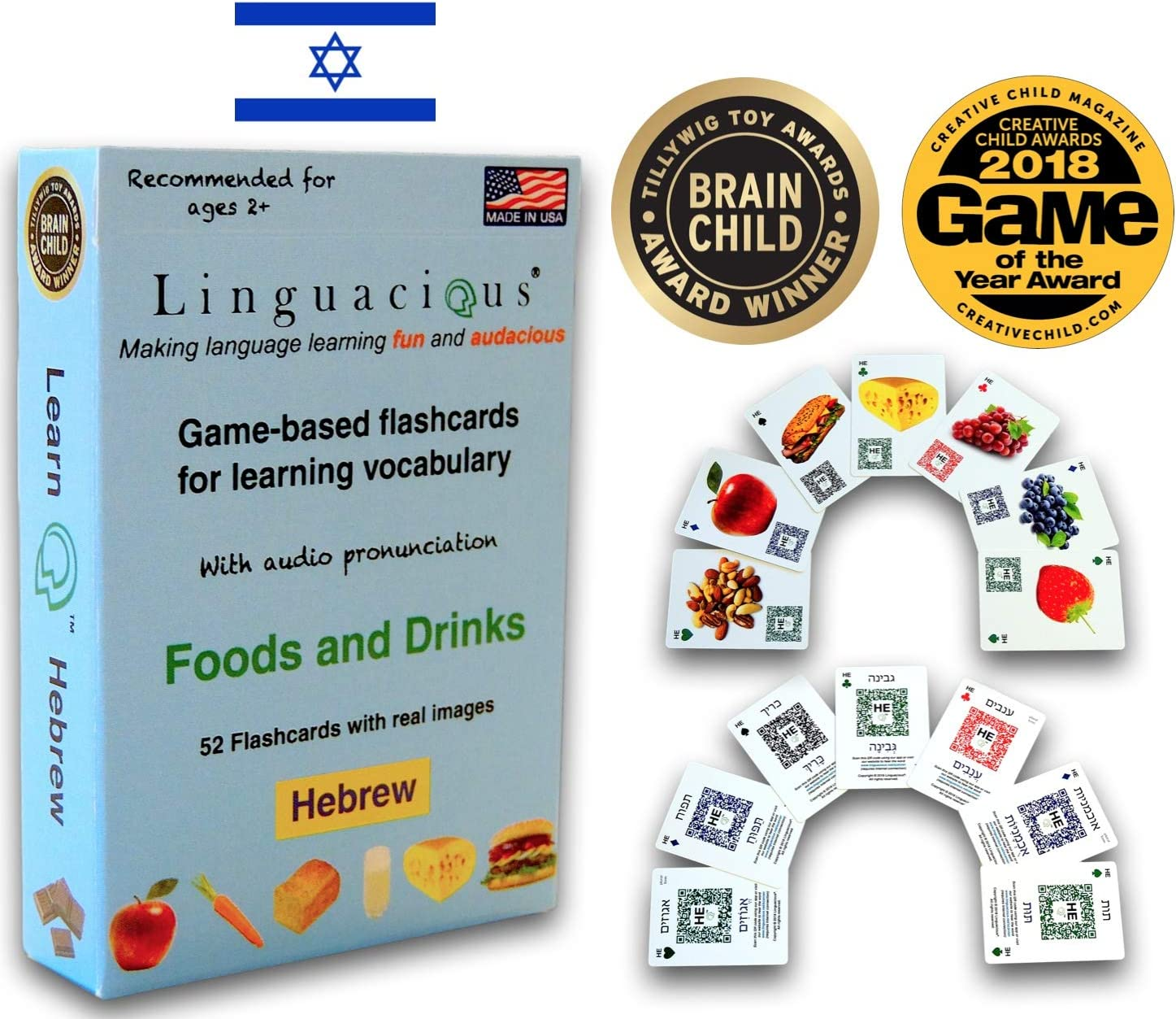 Linguacious Award-Winning Hebrew Foods and Drinks Flashcard Game - with Audio!