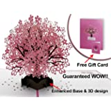 Handmade Birthday Bridesmaid Anniversary Mothers Fathers Pop up Cards ChristmasTree Romantic Valentines Cherry Blossom Tree popup with Extra Card 3D Greeting Surprise Day