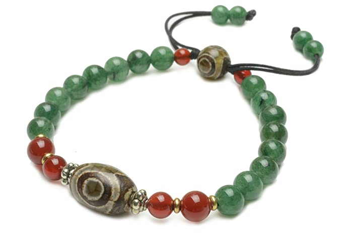 Elegant Dark Green Jade Bracelet with 3 Eyes Dzi Feng Shui Beads,7 Inches - Fortune Feng Shui Jewelry