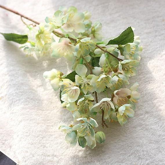 Flores artificiales hoja de cerezo floral boda ramo decoración del partido plantas exterior grandes para colgar jardinera colgantes interior grandes (Hot ...