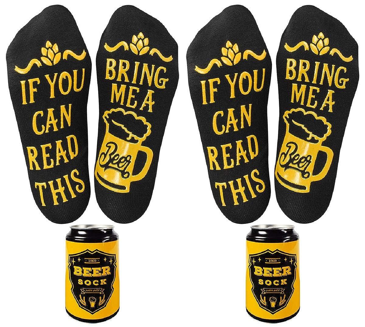 calzini da uomo con lattina di birra con scritta in lingua inglese If you can read this bring me a beer lingua italiana non garantita Tuopuda