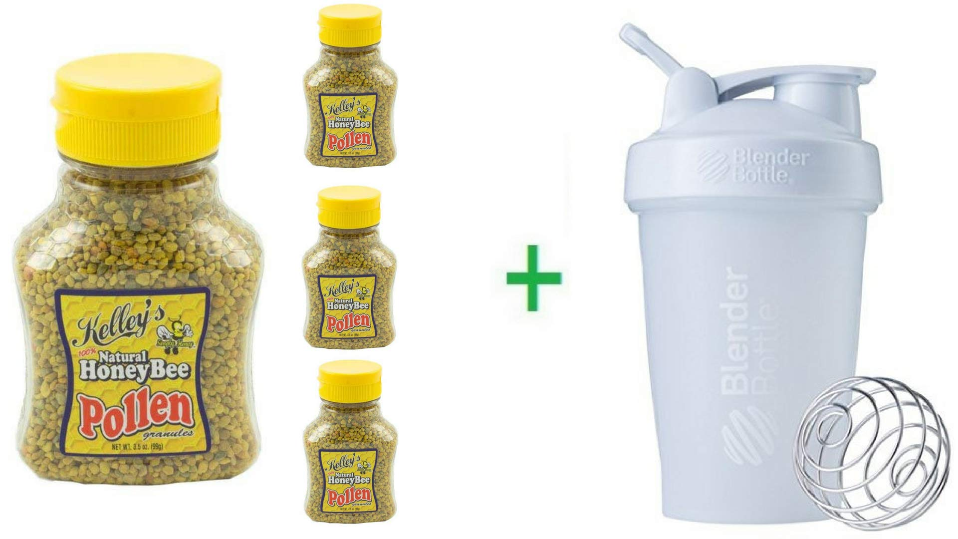 Kelley's Honey 100% Natural Bee Pollen 3.5 OZ (Pack of 4) + (Blender Bottle)