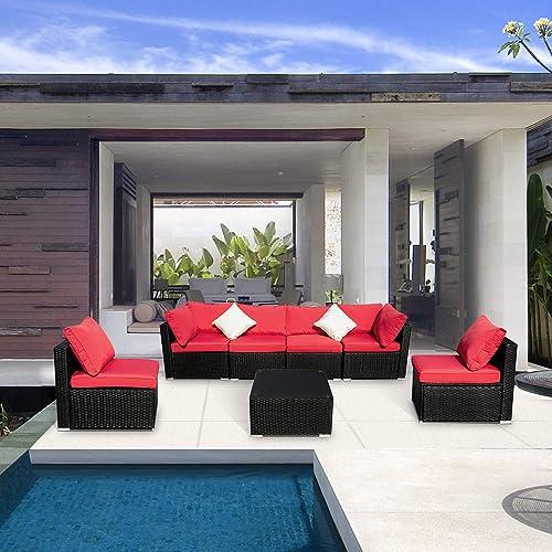 Leisurelife 7 Pcs Outdoor Patio Furniture Set Red