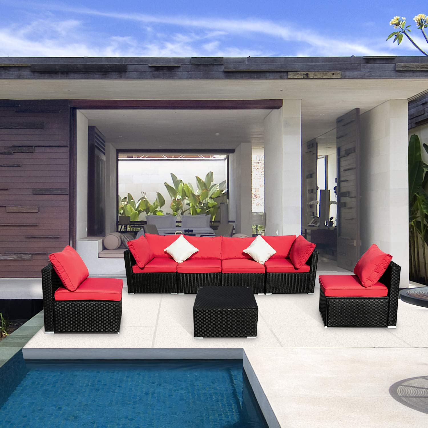 Leisurelife 7 Pcs Outdoor Patio Furniture Set Red, Sectional Sofa with Cushion and Glass Coffee Table, PE, Rattan
